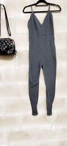 Charcoal V-neck one piece bodysuit jumpsuit romper
